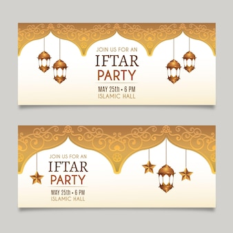 Realistic iftar banner