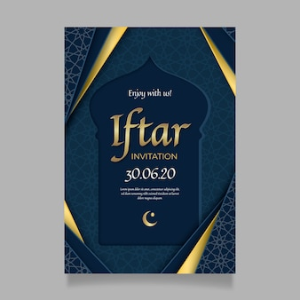 Realistic iftar indian invitation template