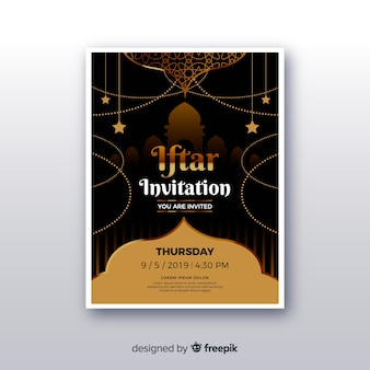 Realistic iftar invitation