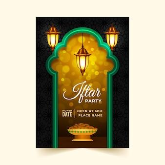 Modello di poster iftar realistico