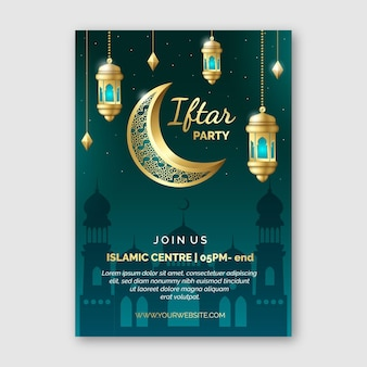 Realistic iftar vertical poster template
