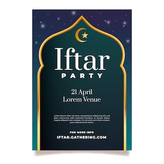 Modello di poster verticale iftar realistico