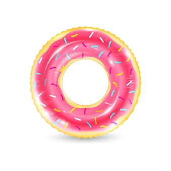 Realistic iinflatable swimming ring looking like donut isolated on white background
