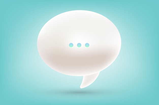 Realistic illustration of 3d one white dialog speech bubble