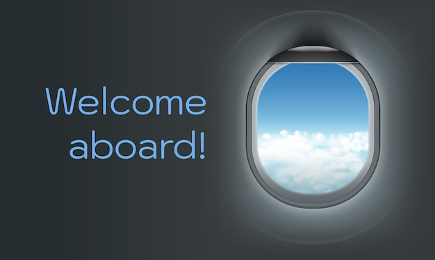 Realistic illustration of airplane illuminator with blue sky with clouds view. welcome aboard