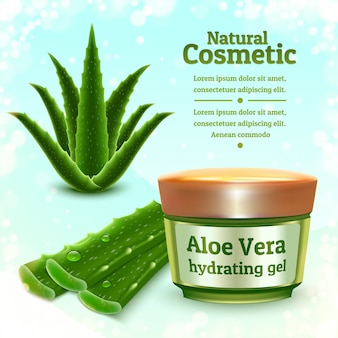 Realistic illustration of aloe vera product