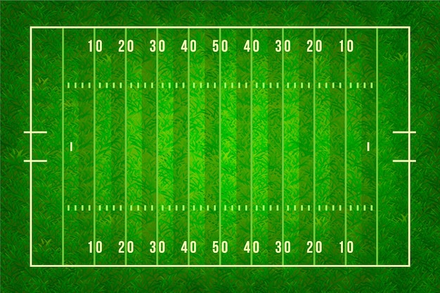 Realistic illustration of american football field in top view