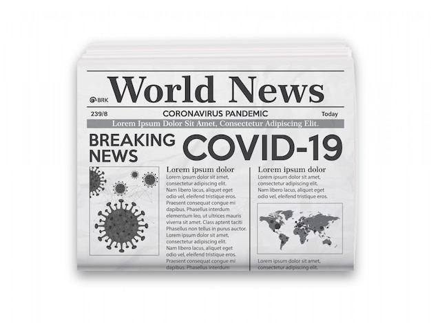 Realistic  illustration of black and white newspaper layout with news covid-19.