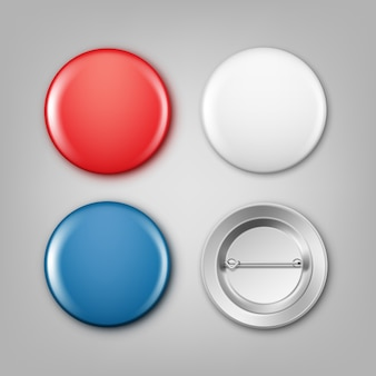 Realistic illustration of blank white, blue and red badges