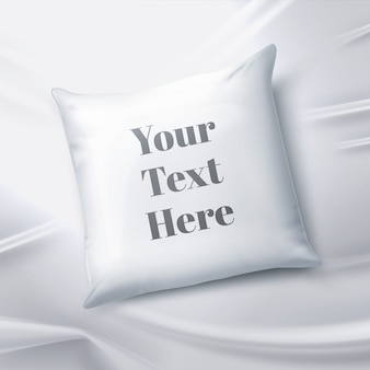 Realistic illustration of blank white pillow isolated on sheet
