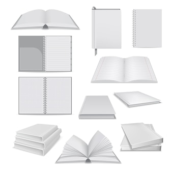 Realistic illustration of book notepad mockups for web