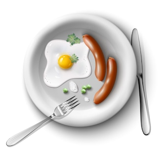 Realistic  illustration, breakfast set with sunny side up fried egg with sausages and peas and coriander on plate with fork.
