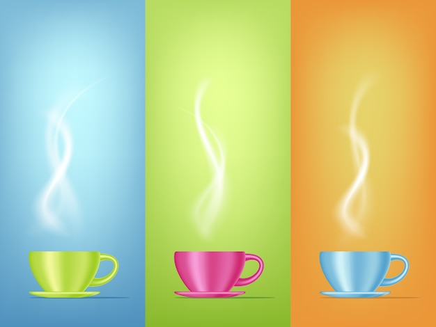 Realistic   illustration of bright color coffee cup with steam. 3d design