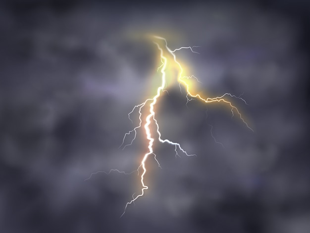 Realistic illustration of bright thunderbolt, lightning strike in clouds on night background.