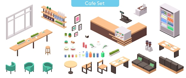 Realistic illustration of cafe or cafeteria furniture set. isometric view of tables, sofa, seats, counter, cash register, cakes, showcase, bottle, shelve, coffee machine, decor  objects