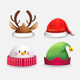 Реалистичные иллюстрации рождественские персонажи шляпы