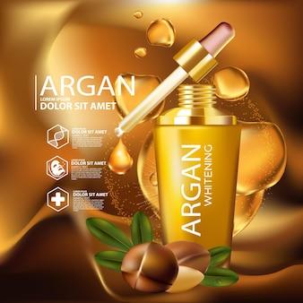 Реалистичная иллюстрация косметики с ингредиентами для ухода за кожей с аргановым маслом