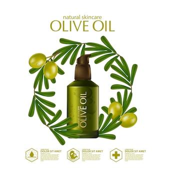 Реалистичная иллюстрация косметики с ингредиентами для ухода за кожей с оливковым маслом
