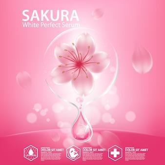Реалистичная иллюстрация косметики с ингредиентами косметика для ухода за кожей sakura cherry blossoms