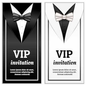 Realistic illustration of elegant bowtie for vip invitation template