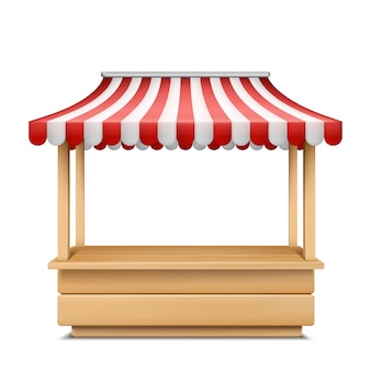 Realistic illustration of empty market stall with red and white striped awning