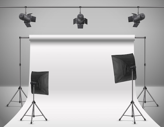 Realistic illustration of empty photo studio with blank white screen, lamps, flash spotlights