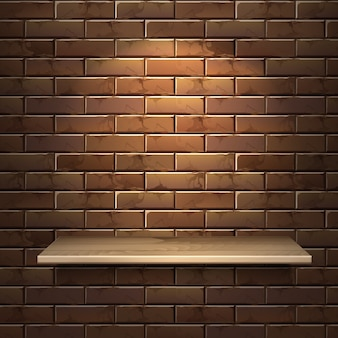 Realistic illustration of empty wooden shelf isolated on brick wall background