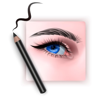 Realistic illustration of eye applying eyeliner
