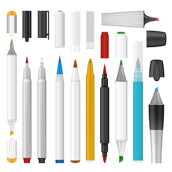 Realistic illustration of felt-tip pen marker mockup for web