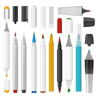 Realistic illustration of felt-tip pen marker mockup for web