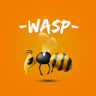 Realistic illustration of giant killer wasp flying