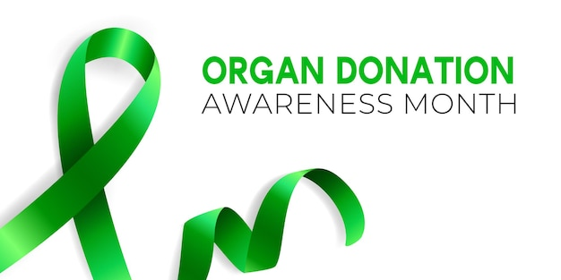 Realistic illustration of green ribbon awareness symbol.