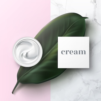 Realistic illustration of half open cosmetic jar with hygienic cream