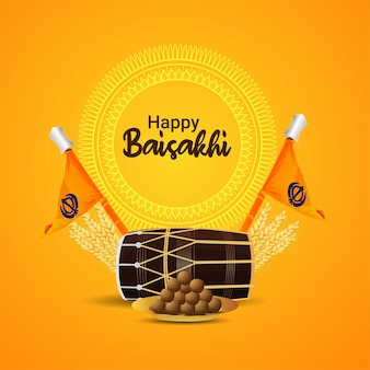 Realistic illustration of happy vaisakhi background with dhol and sikh flag and sweet