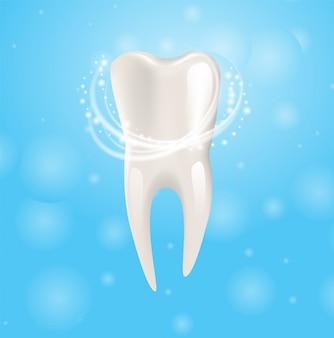 Реалистичная иллюстрация здоровый зуб в 3d вектор