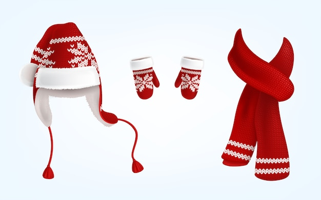 Realistic illustration of knitted santa hat with earflaps, red mittens and scarf