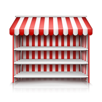 Realistic illustration of market stall with red and white striped awning