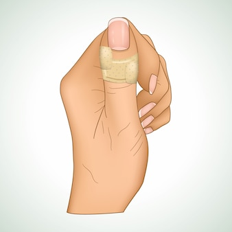 Realistic illustration of a medical patch on a thumb