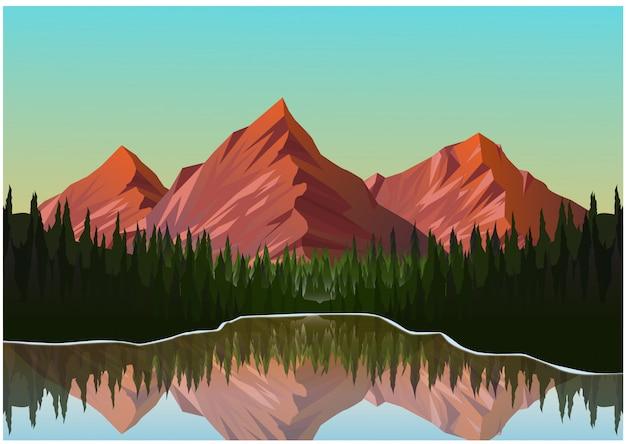 Realistic illustration of mountain landscape