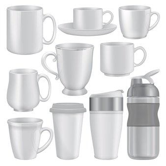 Realistic illustration of mug cup mockups for web