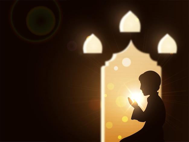 Realistic illustration of a muslim boy in salah (