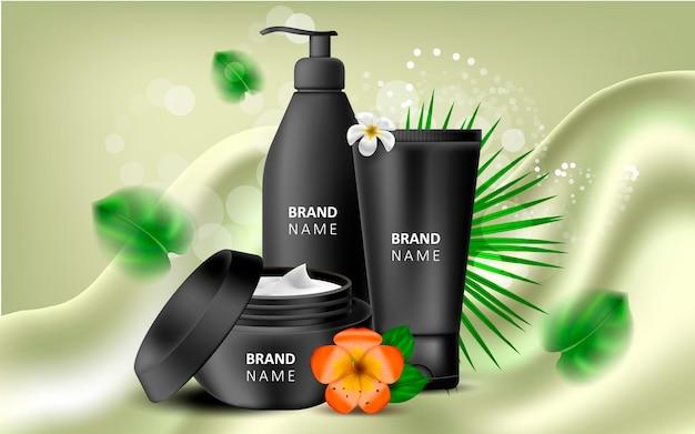 Realistic illustration of natural cosmetics