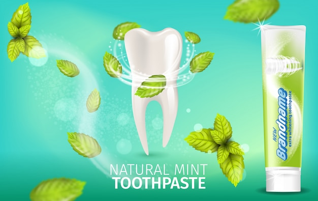Realistic illustration natural mint toothpaste