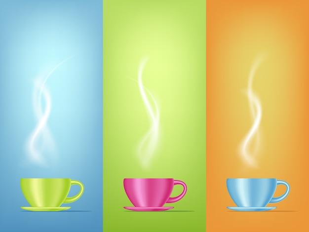 スチームで明るい色のコーヒーカップのリアルなイラスト。 3dデザイン