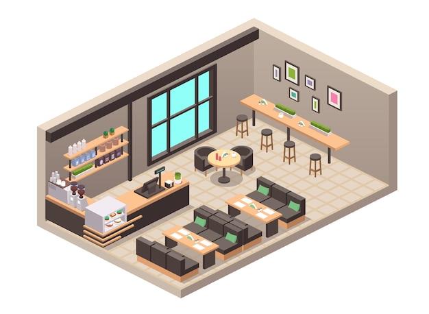 カフェや食堂のリアルなイラスト。インテリア、テーブル、ソファ、座席、カウンター、レジ、ショーケースのケーキデザート、棚にボトル入りの飲み物、コーヒーマシン、装飾の等角図
