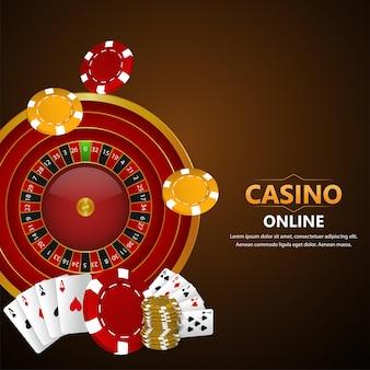 カジノギャンブルゲームと背景のリアルなイラスト
