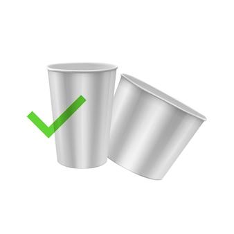 分離されたエコペーパーカップホワイトペーパーカップのリアルなイラスト