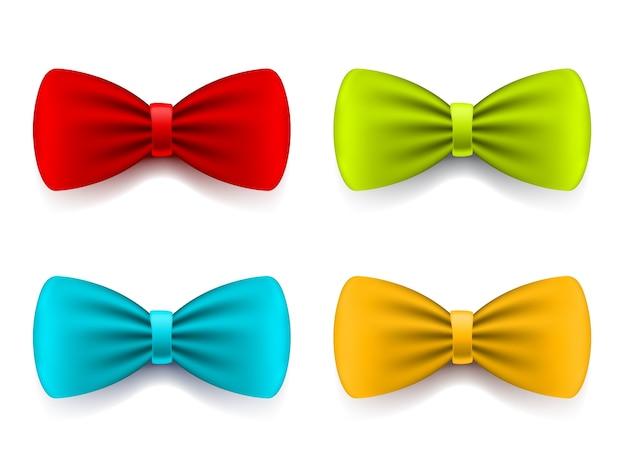 Реалистичная иллюстрация элегантного яркого цветного галстука-бабочки с тенью