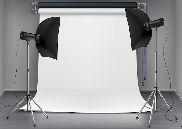 Реалистичная иллюстрация пустой комнаты с пустым белым экраном, студийные светильники с мягкими коробками