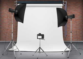 Realistic illustration of empty room with blank white screen, studio lights with soft boxes